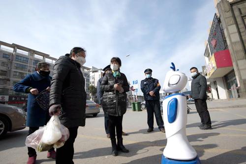 江苏海安:机器人街头宣传防疫知识,南通网